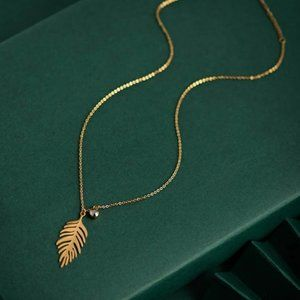 New: Palm Leaf Necklace 14KGP Stainless Steel